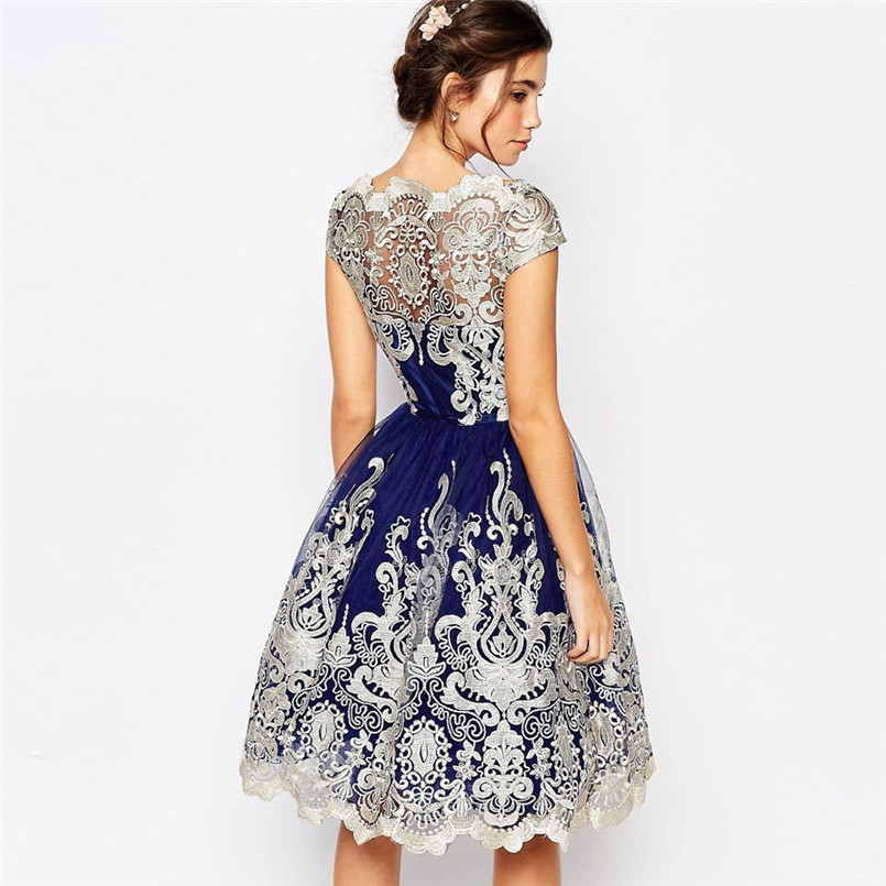 Vintage Hollow Out Mesh Embroidery Tutu Dress Female Knee Length Navy Blue Evenig Dress Party Gown Slash Neck A Line Dress in Dresses from Women 39 s Clothing