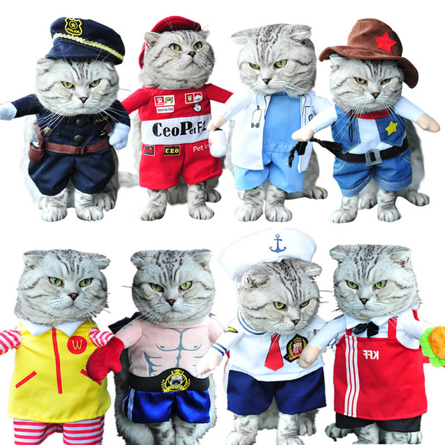 funny cat costume nurse policeman pirate cowboy suit dog cat halloween costume pet puppy suit dressing
