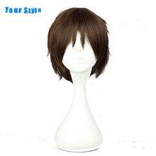 Парик в вашем стиле, короткий вьющийся коричневый парик, парик из синтетических искусственных волос для косплея, высокотемпературное волок...