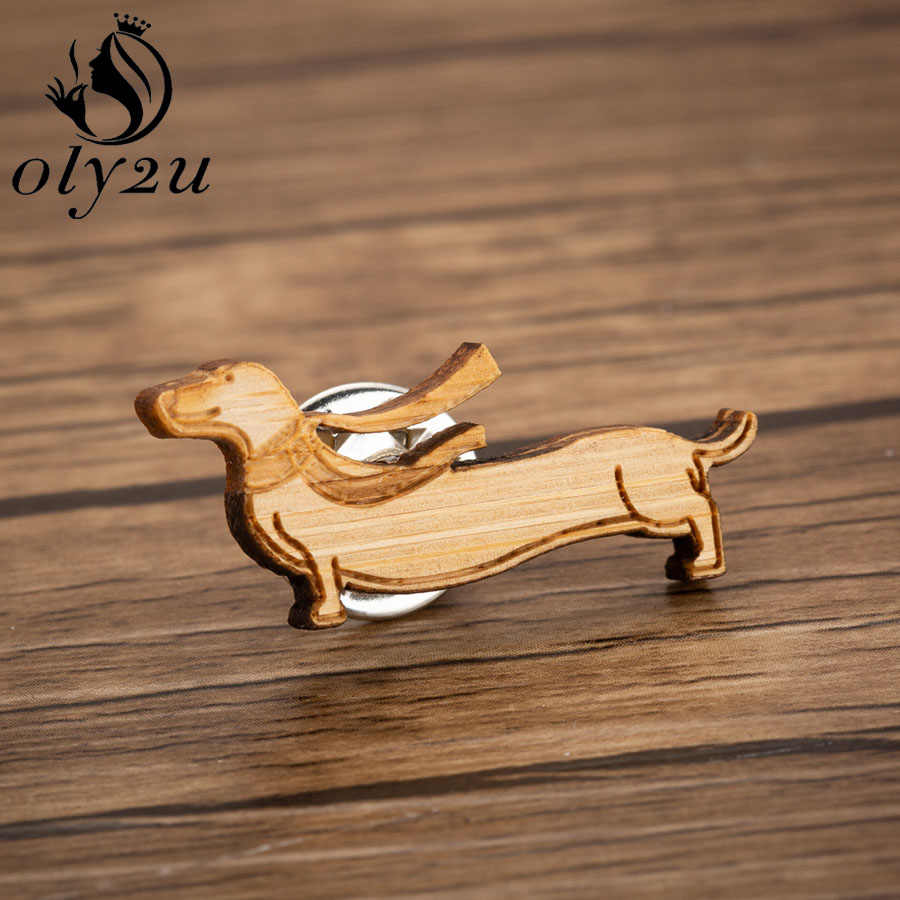 Oly2u בעלי החיים כלב סיכות סיכות לנשים אביזרי עץ תחש סיכת צווארון צעיף פין נקבה תכשיטי סגסוגת מתכת מתנות