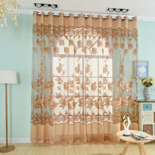 Floral Style Design Window Tulle Curtains Luxury Jacquard