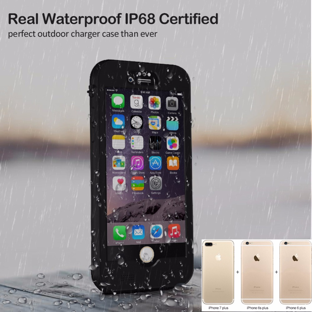 Full 4800mAh Waterproof IP68 Power bank case pack backup battery Charge case for iPhone 6 6s 7 7s Plus 5.5inch baseus guards case tpu tpe cover for iphone 7 plus blue
