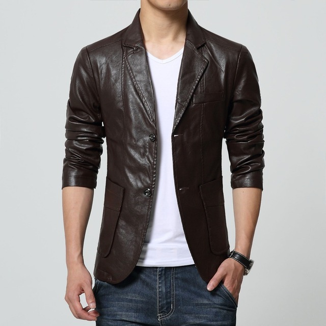 2017 High Quality Men's Jacket Slim Leather Casual Blazer motorcycle leather jackets Long Sleeve Two Buttons Cool For Men 6XL