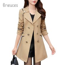Brieuces high quality spring and autumn new self-cultivation in the long section of coat female solid color lapel