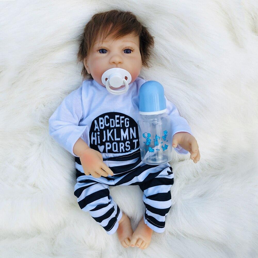 46 cm reborn silicone bébé poupées nouveau-né reborn accessoires de modélisation vinyle enfant en bas âge garçon renaissance poupées enfants cadeaux d'anniversaire poupée infantile