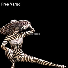 Sexy Singer Stage Wear Jumpsuit Printed Zebra Pattern Bodysuit Nightclub Party Show Dancewear Dj Costume For Women (With Hat) yellow tiger pattern printed sexy jumpsuit skinny leggings rompers nigthclub singer dancer performance stage show nude costume