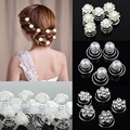 12Pcs Delicate Bride Princess Hair Pins Headwear Flower Crystal Simulated Pearl Headwear Wedding Hairpins Jewelry Accessories
