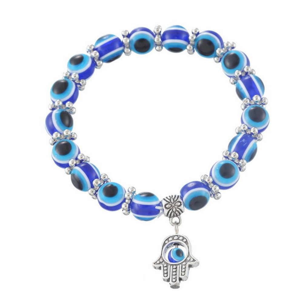 Lucky สร้อยข้อมือที่ดีที่สุดตุรกีสร้อยข้อมือแฟชั่น Evil Eye Hamsa มือทางศาสนา charm ลูกปัดสีฟ้า