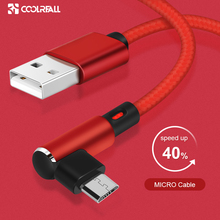 Coolreall 90 Degree Micro USB Cable Fast Charger Data Braided Mobile Phone For Samsung Huawei