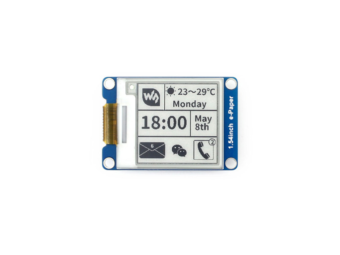 200x200, 1.54inch E-Ink display module Without PCB Communicate via SPI interface Supports various controller boards