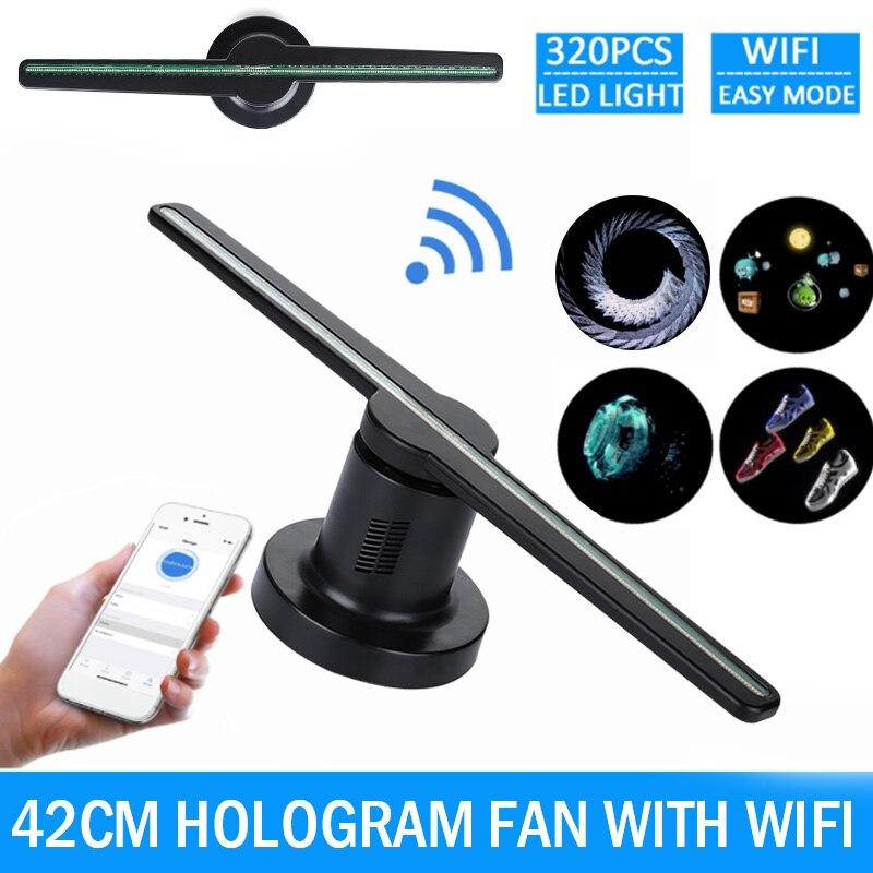 Wifi 3D hologramme projecteur ventilateur 42cm holographique magasin signes lampe fête décorations pour Led publicité joueur affichage magasin Logo