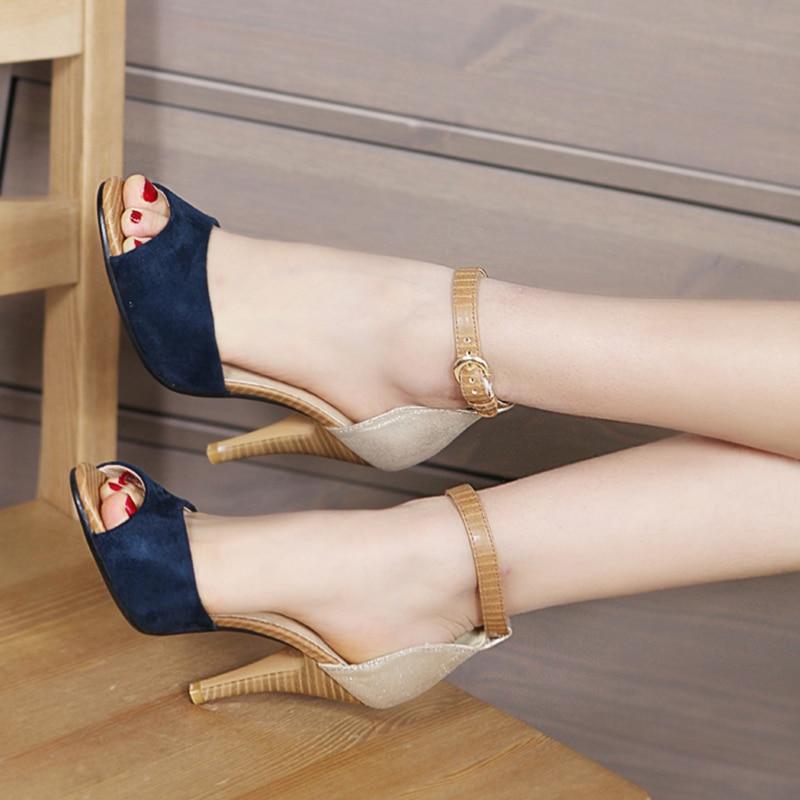 Karinluna 2019 plus size 32 43 dropship party patchwork women Shoes Woman sexy high heels summer ankle strap sandals woman