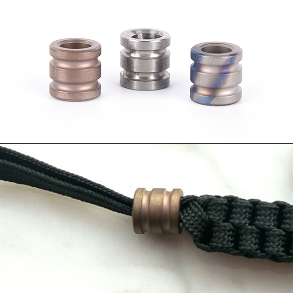 Titanium Alloy Knife Beads Paracord Can Fits Tritium Gas Tube Knife Lanyard Rope Outdoor Parachute Cord Gadget(China)