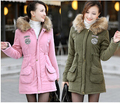 Sale Discount UK 2016 Winter Parka Women Coat Fur Hooded Down Jacket Mint Green,Pink Plus size Thick Warm Outerwear New Casual