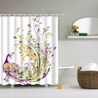 LFH 180X180CM Beautiful Peacock Pattern Shower Curtain Waterproof Polyester Bathroom Sets Home Decor Shower Rings