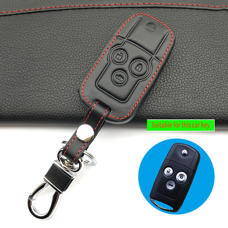 Latest Top Layer Leather Key Case For Car Key Chain For Honda Accord City Civic Crv Element Fit Hrv Odyssey Crider Jed 3 Buttons