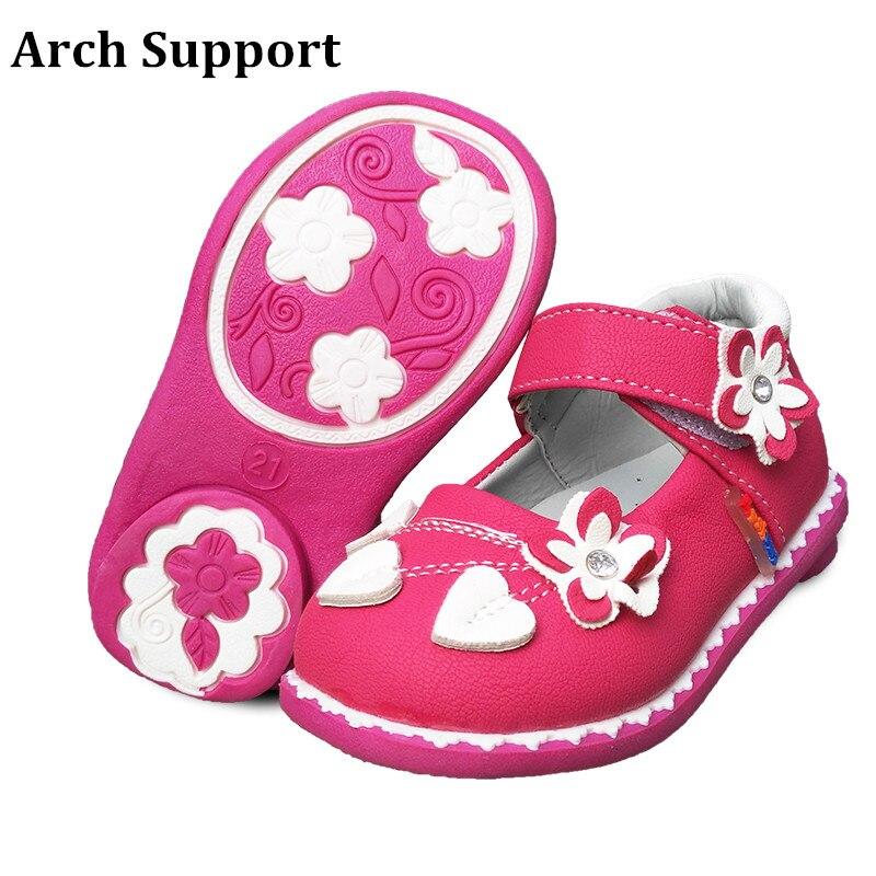 Милая повседневная обувь для девочек; 1 пара; стразы в виде цветка; детская обувь наивысшего качества - Цвет: Красный