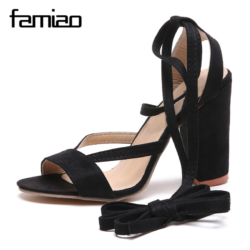 FAMIAO 2018 Sexy Women Pumps Open Toe Lace up Heels Sandals Woman sandals Thick with Women Shoes women High heels 2018 fashion women pumps sexy open toe heels sandals woman sandals thick with women shoes high heels s144