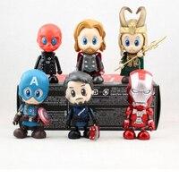2set Lot 8cm Q Version Super Hero Marvel Iron Man Captain America Thor Loki Toy
