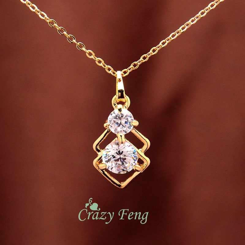 Trendy CZ Schmuck Sets 3 stücke Gold-farbe Kette Halskette Ohrringe Braut/Hochzeit Afrikanischen Schmuck Sets Für Frauen geschenke