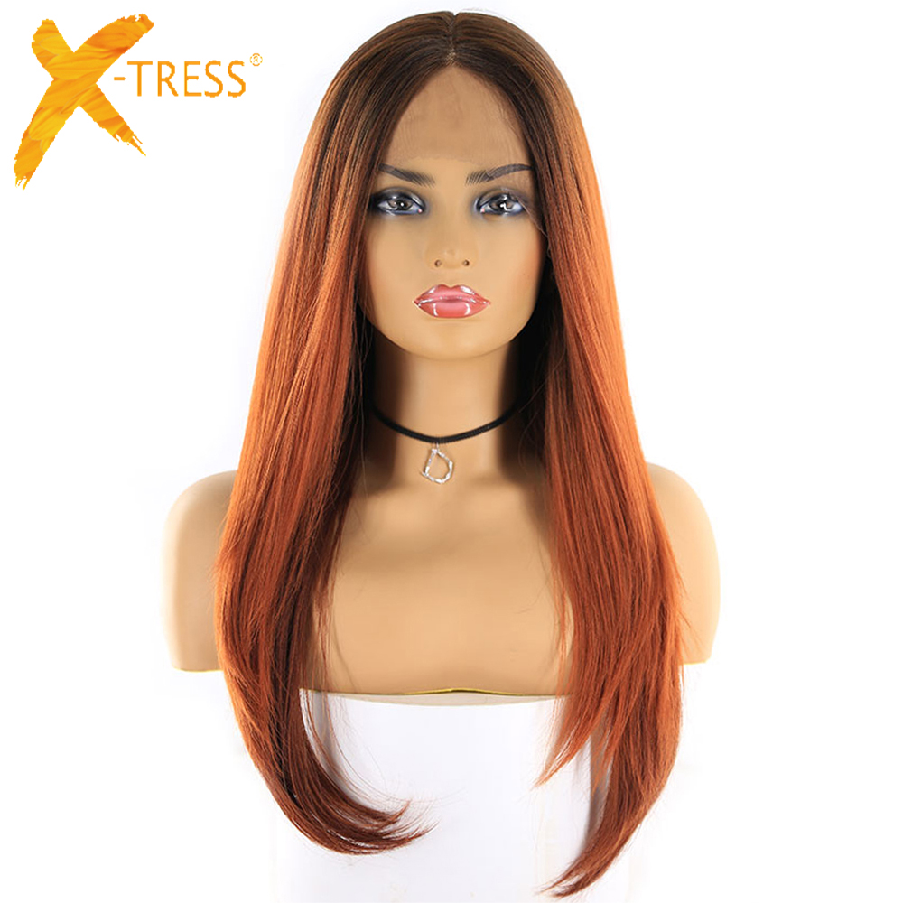 X-TRESS Wigs Blonde Lace-Frontal Synthetic-Hair Auburn Middle-Part Dark-Roots Ombre-Color