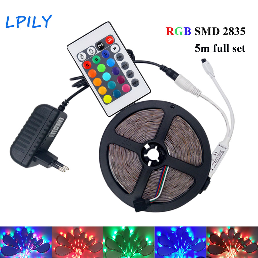 IPILY 5M RGB LED Strip led tape light rgb led rgb 2835 led strip Waterproof with 24 key controller dc 12v power supply IP20 IP65 good group diy kit led display include p8 smd3in1 30pcs led modules 1 pcs rgb led controller 4 pcs led power supply