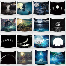Hot sale beauty moon night landscape large tapestry Wall Hanging Printed home decoration tapestry bedroom tapestry night sky printed wall hanging tapestry