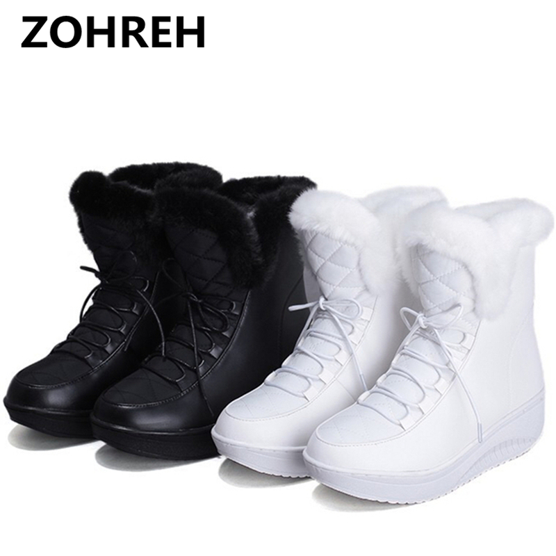 ZOHREH 2018 NEW Hot Sale Shoes Women Boots Solid Slip-On Soft Cute Women Snow Boots Round Toe Flat with Winter Fur Ankle Boots cute women winter snow boots slip on soft fur warm shoes candy color ankle boots woman round toe solid flat biker boots