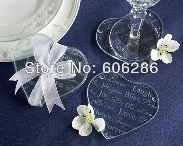 Wholesale 200pcs(100pairs)/LOT Indian Wedding Return Gift for Guests heart Love Cup Pad Mat Glass Coasters