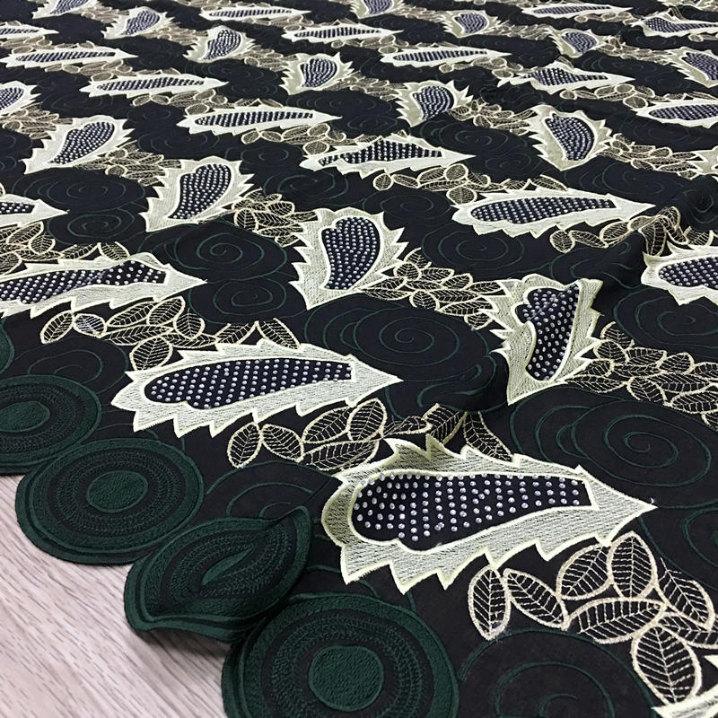 Dubai african lace fabric dark green high quality cotton Voile Lace bridal fabric 100 cotton 054