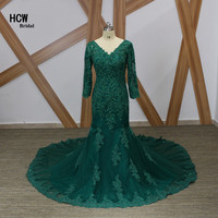 Green Long Sleeves Dress Evening V Neck Open Back Beaded Lace Long Train Special Occasion Gowns 2019 Long Elegant Evening Dress