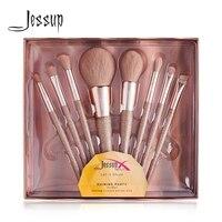 Jessup Новые блестящие вечерние Золотые кисти кисть для пудры Румяна Кисть для нанесения теней синтетические волосы подарок коробка