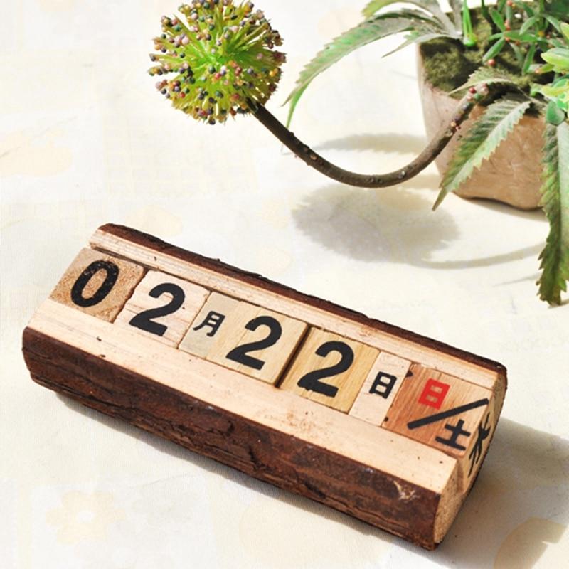 Европейский творчество фигурки древесины вечный Календари квадратном деревянном Календари дома классический ручной работы обстановка ст...