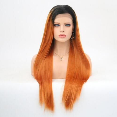 Charisma Ombre Orange Synthetic Long Straight Hair Lace Front Wigs Glueless For Women Natural Hairline 150