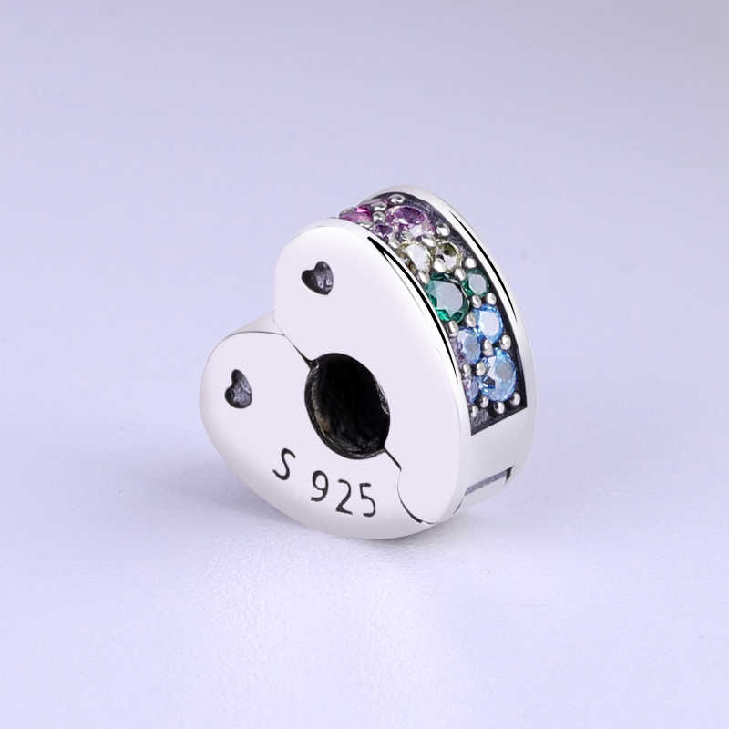 2018 oryginalny 100% 925 Sterling srebrny urok koralik łuki miłości klip Charms Rainbow Heart Fit Pandora bransoletki kobiety DIY biżuteria