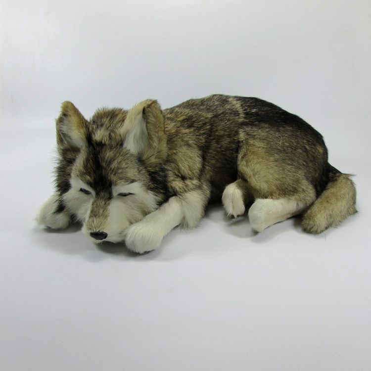 new simulation gray husky dog plastic&fur sleeping dog model gift about 36x25x14cm a67 stripes sweater design prone husky largest 165cm gray husky dog plush toy sleeping pillow surprised christmas gift h907