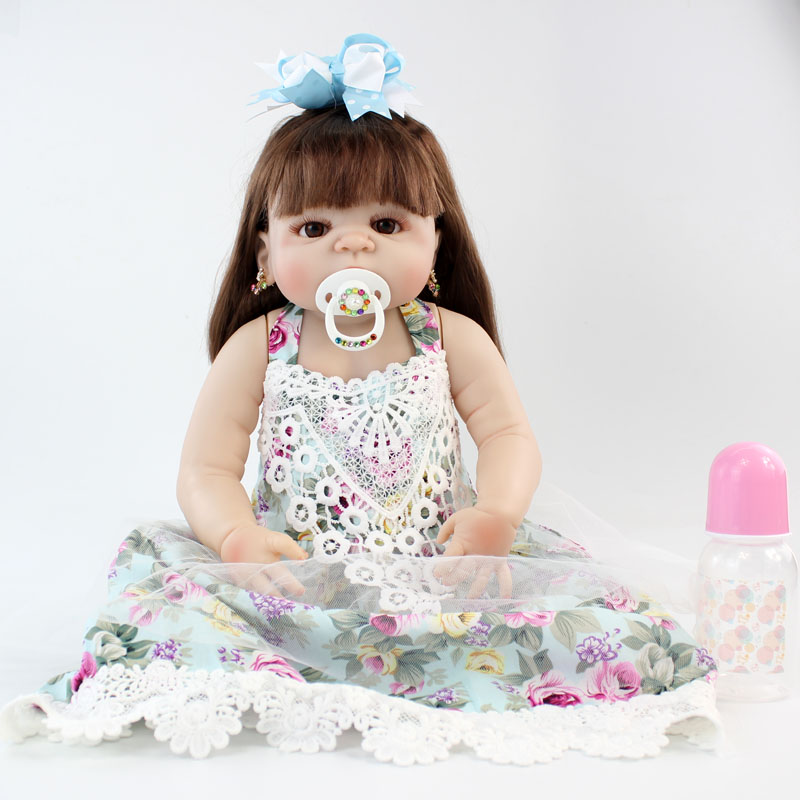 """NPKCOLLECTION 22"""" Full Silicone Newborn Baby Princess Girl Doll Realistic Reborn Dolls Alive Bebe Boneca Toy Hand Rooted Hair"""