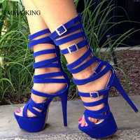 Sexy Sandalias Mujer Solid Color Narrow Band Buckle Strap Platform Women Sandals 16 CM Thin High Heels Botas Performing Shoes