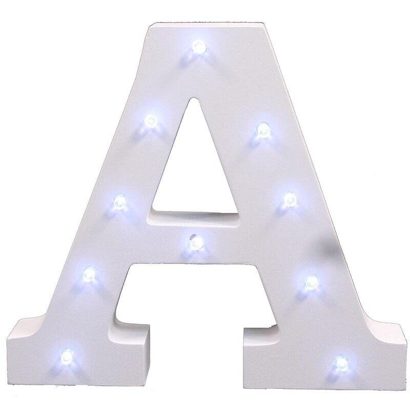 Əlifba Məktubu İşıqları LED İşıq UP Ağ Taxta Məktublar - Gecə işığı - Fotoqrafiya 3