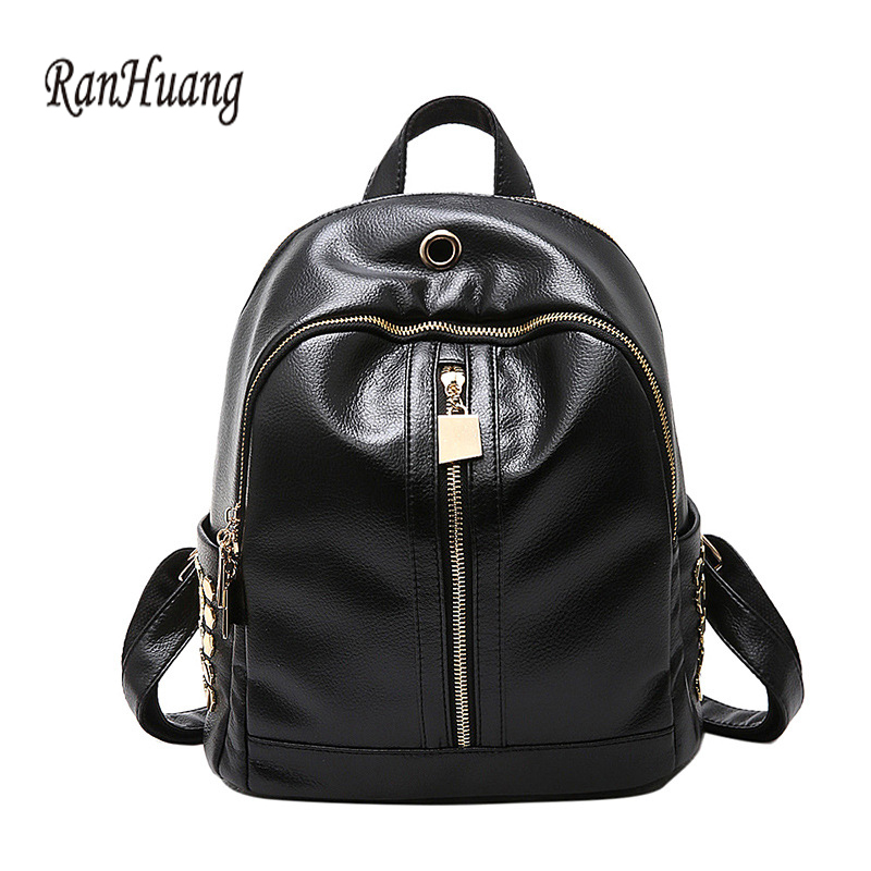 RanHuang Women Fashion Backpack New 2017 Women s Casual Backpack High Quality PU Leather School Bags