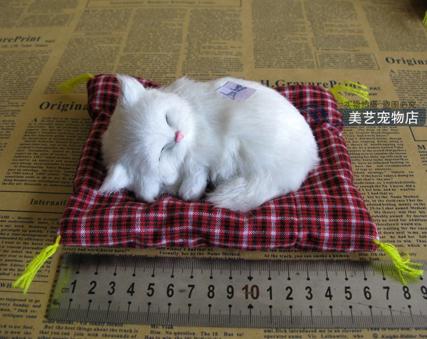 small cute simulation white cat lifelike sounds cat model about 16x14cm