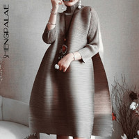 SHENGPALAE 2019 Spring New Fashion Red Long Sleeve Turtleneck Loose Big Size Fold Knee length A line Vintage Dress Women EB015