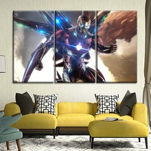 Wall Artwork Modern Canvas Poster Framework Iron Man Avengers Endgame Movie Painting One Set Modular 3 Piece Style Picture