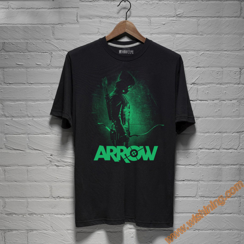 Marvel The Arrow Oliver Queen T-shirts Mens Black Superhero Tee Shirts