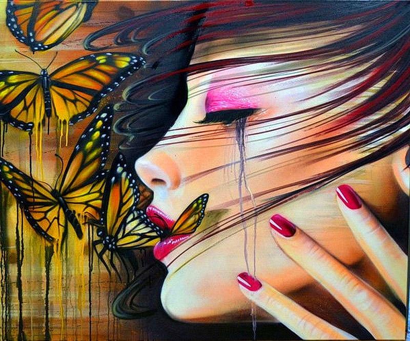 Modern Lukisan Gambar Jalan Graffiti Art Gadis Potret Dengan Air
