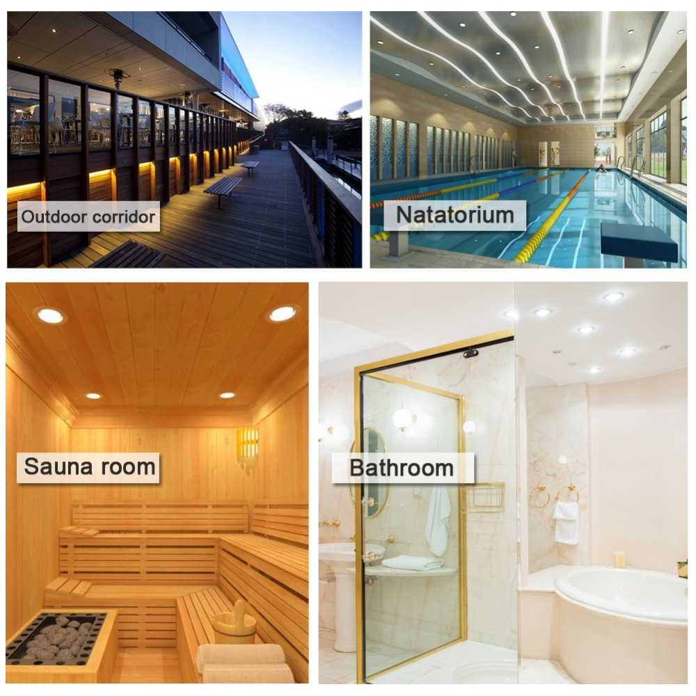 4pcs 5w 7w LED Downlight 3 5inch Open size 80mm 3inch AC 85 265V IP65 for outdoor bathroom Sauna room LED Ceiling Spot Light in LED Downlights from Lights Lighting