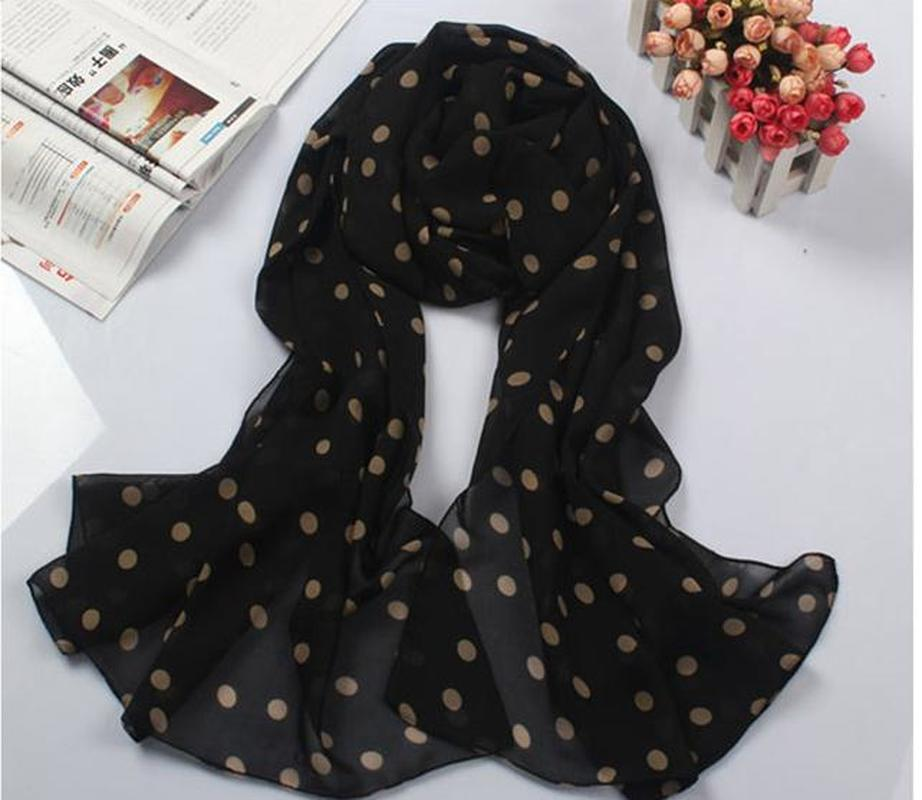 2018 New Stylish Girl Long Soft Silk Chiffon   Scarf     Wrap   Polka Dot Shawl Scarve For Women