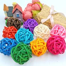 10PCS 3CM Rattan Ball Round Shape Mutil Colors Sepak Takraw For Christmas Birthday Party & Home Wedding Decoration