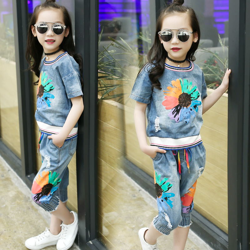 Children's clothing 2018 new girls summer 100% cotton clothes sets kids sunflower print personality suit child casual sports set sunflower print crop tee