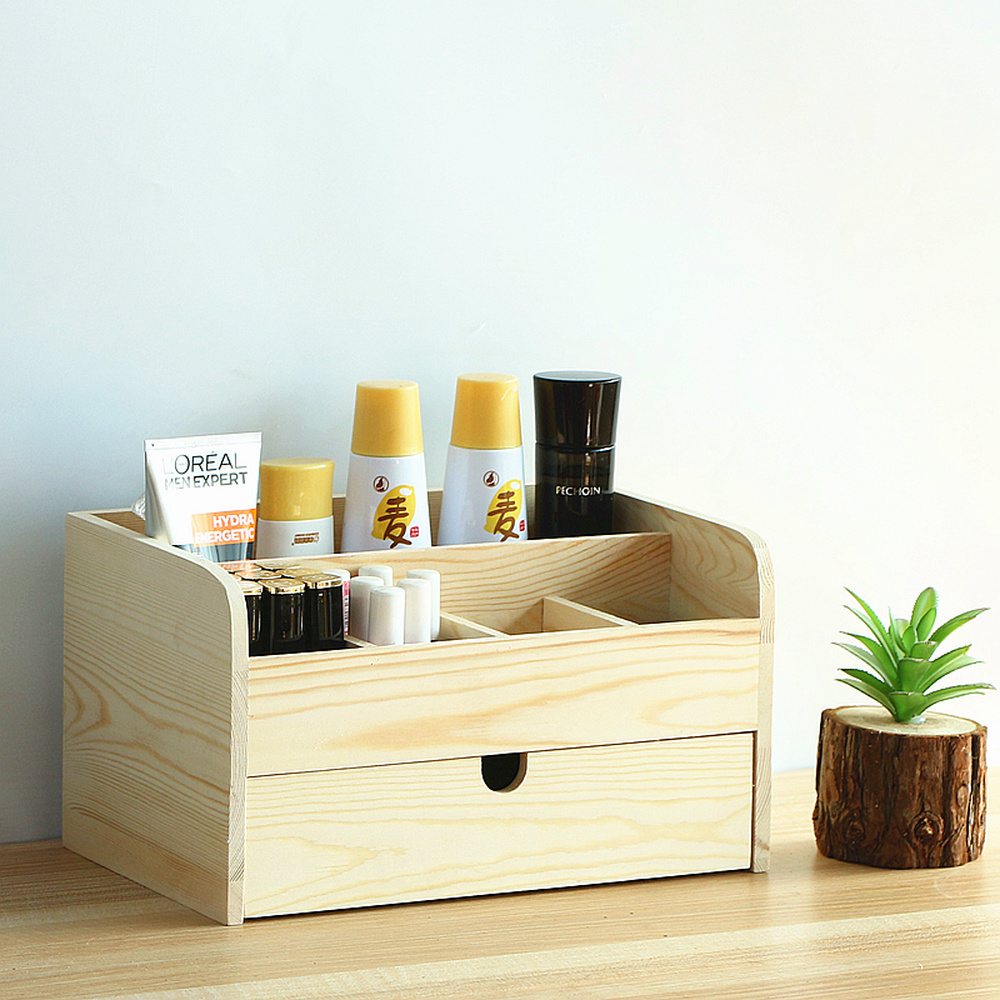 A1 Wooden desktop drawer cosmetic storage box finishing box dressing table skin